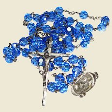 Exquisite Italian Sterling & Sapphire Aurora Borealis Crystal Rosary