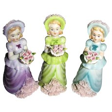 Lenwile Ardalt Handpainted Porcelain 3 Little Maids w/ Spaghetti Trim #6925