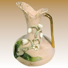 "Lefton 3"" Pink Pitcher w/ White Flowers, Green Leaves, Gold Handle #124"