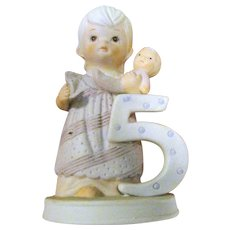 Lefton The Christopher Collection Porcelain Birthday Girl Age 5, 1982