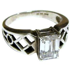 Sterling Emerald Cut CZ Engagement Style Ring, Sz 8, 5 grams