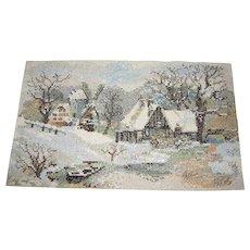 Harris, Hand Worked Needlework Panel of Winter Snow Scene