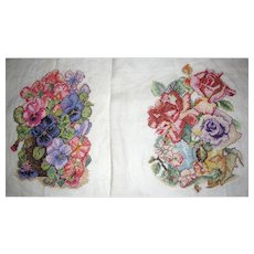 Harris, Pair of Hand Worked Needlework Floral Panels