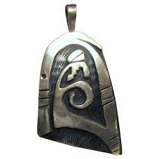Native American Sterling Hopi Overlay Pendant
