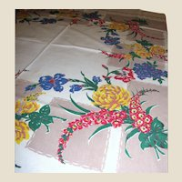 Vintage Printed Kitchen Floral Tablecloth Circa 1950's