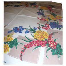 Vintage Printed Kitchen Floral Tablecloth Circa 1950's