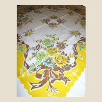 Vintage Printed Kitchen Flowers & Bows Tablecloth Circa 1950's
