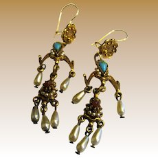 Romantic Renaissance Revival Ornate Chandelier Earrings