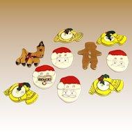 10 Hand Made Ceramic Christmas Buttons