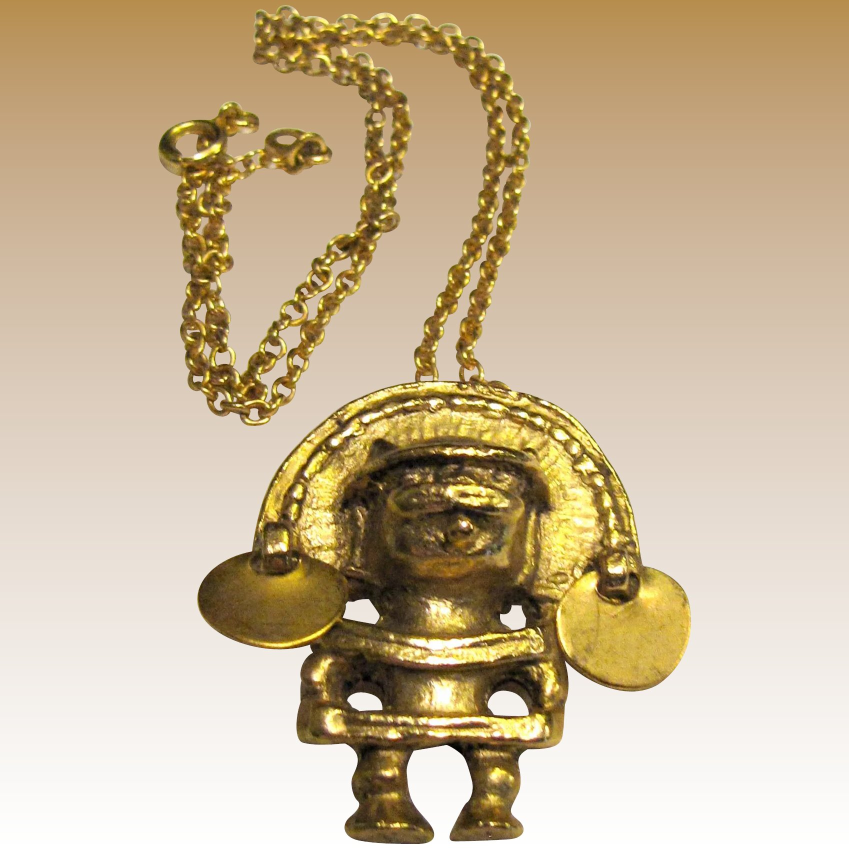 Gold plated mayan pendant vintage alva museum fay wray antiques click to expand aloadofball Image collections