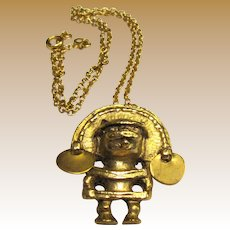 Gold Plated Mayan Pendant, Vintage Alva Museum