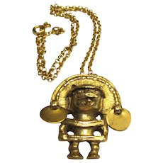 Gold mayan jewelry ruby lane gold plated mayan pendant vintage alva museum aloadofball Images