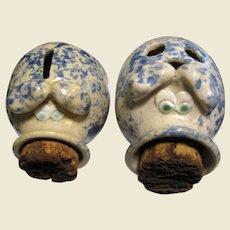 Pottery Piggy Coin Bank & Piggy Note Bank, Sponge Glaze, Cork Snouts