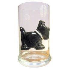 Blown Glass Tumbler w/ Applied Ceramic Terrier