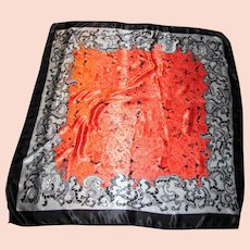 "36"" Sq Vibrant Poly Satin Scarf w/ Paintbox Orange Roses!"
