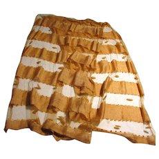 Wonderful Artisan Caramel Pure Silk Shawl w/ Chiffon Bands