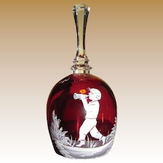 Vintage Mary Gregory Ruby Red Bell, Westmoreland Glass Co. Signed by Artist E. Brown