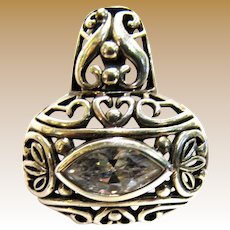 Sterling Filigree Pendant w/ Large Marquise Cut 1.8 ct CZ