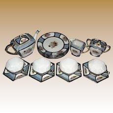 1918 Noritaki17 Piece Porcelain Tea Set, Vibrant Hand Painted Florals!