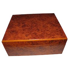 Large Cigar Humidor with Burl Wood Finish