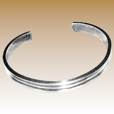 Heavy Sterling Hand-wrought Ribbed Cuff, Signed CW