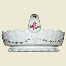 Darling Westmoreland Hand Painted Milk Glass Basket, Roses & Bows