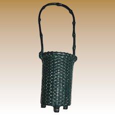 19th Century Victorian Cast Iron Spill Holder, Basket Design