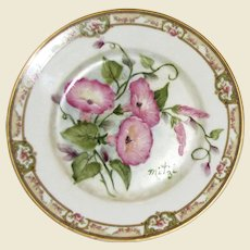 "Theodore Haviland Limoges France 7 1/2"" Plate 7 1/2"", Hand Painted Morning Glory Flowers, Artist Signed ""Mitzi"""