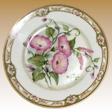 """Theodore Haviland Limoges France 7 1/2"""" Plate 7 1/2"""", Hand Painted Morning Glory Flowers, Artist Signed """"Mitzi"""""""
