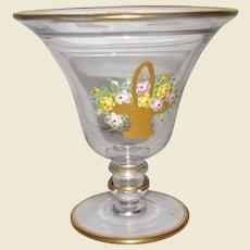 Exquisite 1920's Art Deco Vase w/ Hand Enameled Basket of Flowers
