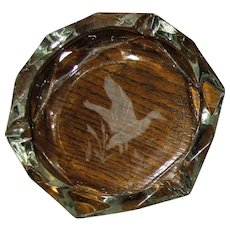 """Mid-Century Modern Glass Ashtray w/ Etched Duck & Cattails, 7"""" Mint"""