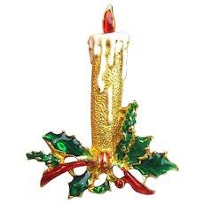 Goldtone Enameled Christmas Candle & Holly Pin