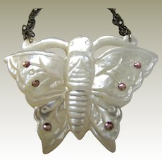 Delicate Hand Carved Mother of Pearl & Pink Rhinestone Necklace