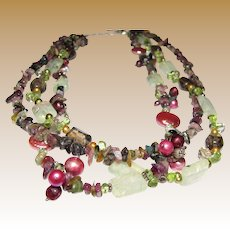"""18"""" Gemstone, Freshwater Pearl & Sterling Necklace, Green & Berry Shades!"""