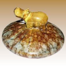 Cute Vintage Hippopotamus Pottery Paperweight