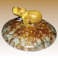 Cute Vintage Hippopotamus Pottery Paperweight