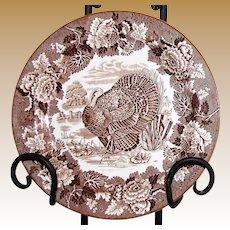 """Vintage  10"""" Turkey Plate by Woods of Burslem, England"""