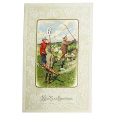 """Circa 1920's Embossed Golf Post Card for """"New Year Greetings"""""""