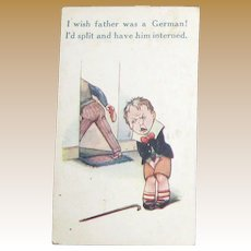 Rare, WWI, 1917, Cartoon Post Card, Illustrated in color