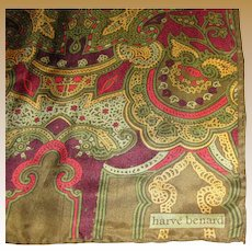 "52"" Long Olive & Red Silk Scarf by Harve Bernard"