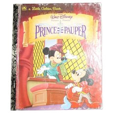 Walt Disney's Prince and the Pauper by Fran Manushkin (Little Golden Book) 1990, Hardcover, Mickey Mouse