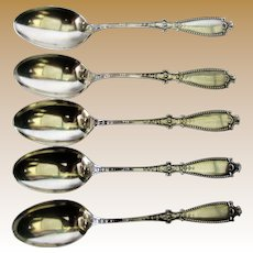 """5 Antique Gorham """"Bedford"""" Sterling Coffee Spoons, Near Mint"""