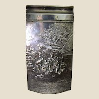 Danish Silverplate Repousse Notepad Holder w/ Pad, Marked for Hans Jensen (Fish)