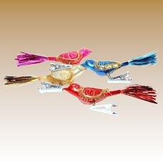 4 Hard Plastic Clip On Bird Christmas Ornaments, Japan