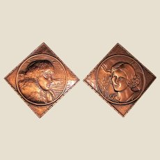 Raised Relief Art Copper Portrait Plaques, Made in Canada 5 1/2""