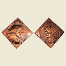 "Raised Relief Art Copper Portrait Plaques, Made in Canada 5 1/2"""