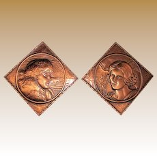 Vintage Man & Woman Frontier on Copper (Raised Relief), Art Copperama Plaques Pictures, Made in Canada 5 1/2""