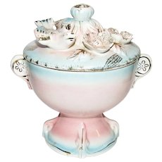 1930's Hull, Blue & Pink Lidded Trinket or Dresser Jar. Dove & Flowers, Mint!