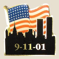"Enamelled 9-11-01 Memorial Pin 1 1/4"", Like New"