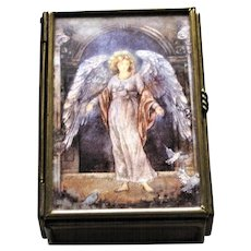 Enesco Angel Jewelry Trinket Box, Brass & Glass Paneled, Mirrored Base